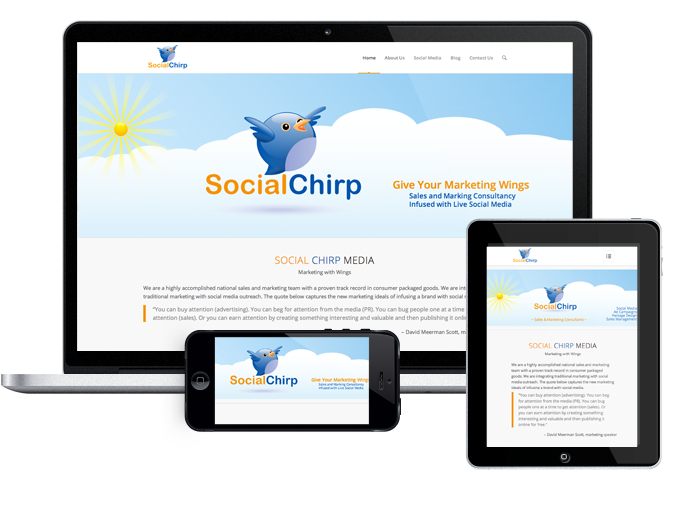 Website Design and Logo for Social Chirp Media